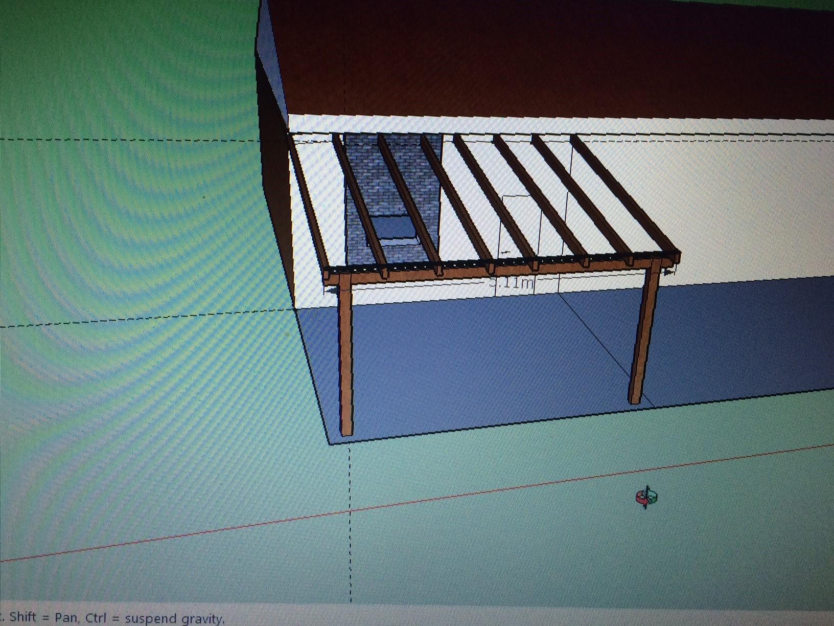 תכנון פרגולת עץ בתכנת sketchup